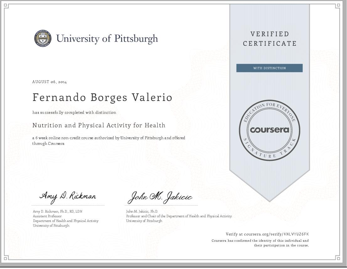 "Dr. Fernando Valério recebe certificado com ""Distinção"" da Universidade de Pittsburgh por ter completado com sucesso o curso ""Nutrition and Physical Activity for Health"""